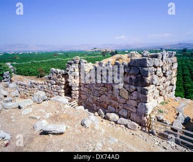 Ancient Tiryns massive walls Argolis Peloponnese Greece - Stock Photo