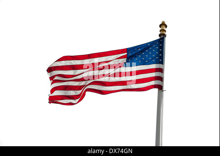 American flag showing US Stars and Stripes blowing in the wind on white background - Stock Photo
