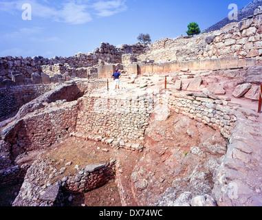 Grave circle A ancient Mycenae Argolis Peloponnese Greece - Stock Photo