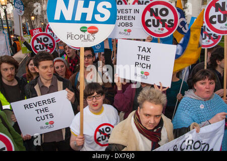 London, UK. March 19th 2014. Protesters from The People's Assembly Against Austerity protest outside Downing Street - Stock Photo