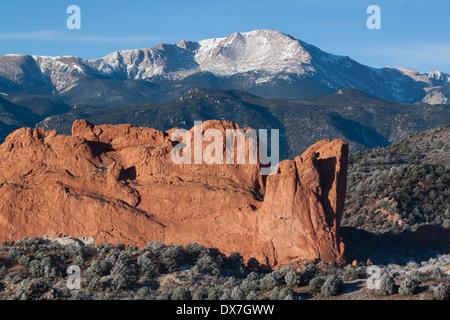 North Gateway Rock and Pikes Peak near Colorado Springs, Colorado - Stock Photo