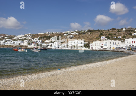 View of the beach, harbour and waterside homes, Chora, Mykonos Town, Mykonos, Greece - Stock Photo