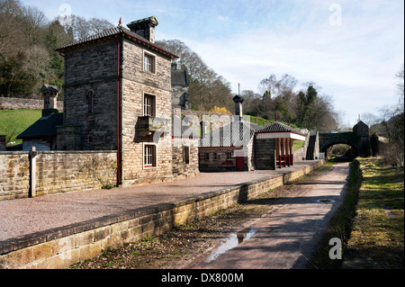 The former Alton Towers Station, Churnet Valley, Staffordshire, UK. Now a holiday let. Railway line is  a cycle - Stock Photo