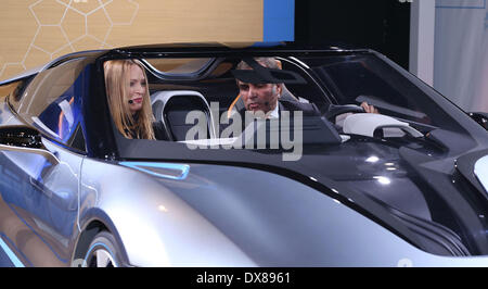 Uma Thurman with BMW of North America President & CEO Ludwig Willisch at the BMW i 'Born Electric' World Tour Opening - Stock Photo