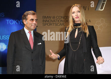 BMW of North America President & CEO Ludwig Willisch and Uma Thurman at the BMW i 'Born Electric' World Tour Opening - Stock Photo
