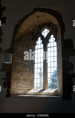 Window in St. Peter`s Church, Whatcote, Warwickshire, England, UK - Stock Photo