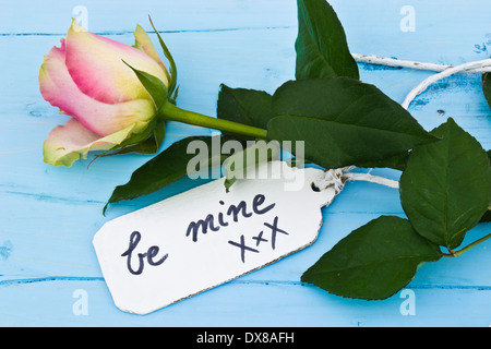 A pink rose on a blue background and a personalised tag saying 'be mine'. Perfect for those in love and for Valentine's - Stock Photo