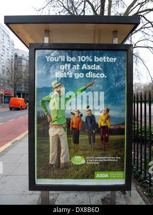 Asda advertisement on bus stop shelter in Bethnal Green London E2  England UK KATHY DEWITT - Stock Photo