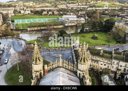 Views over East Bath, Somerset, from the top of Bath Abbey, with the roof of the Abbey below showing Gothic architecture - Stock Photo