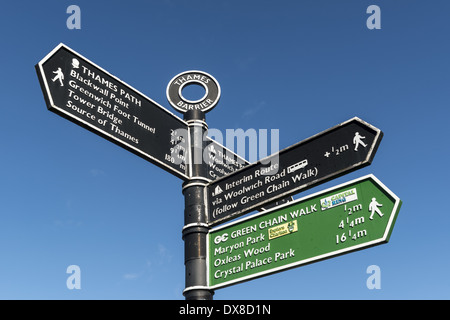 Signpost at the Thames Barrier which is located downstream of central London, United Kingdom, operational since - Stock Photo