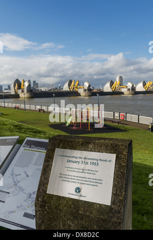 Memorial commemorating the davasting floods of January 31st 1953, the event that led to the development and construction - Stock Photo