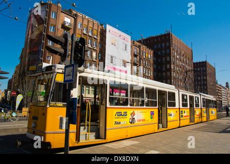 Tram 49 at terminal stop, Karoly korut bouleard, central Budapest, Hungary, Europe - Stock Photo