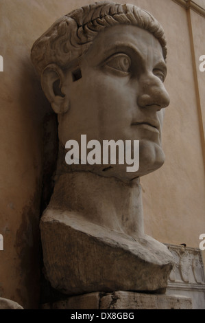 Constantine I, The Great (272-337). Roman Emperor. Bust of Constantine's colossal statue. Rome. - Stock Photo