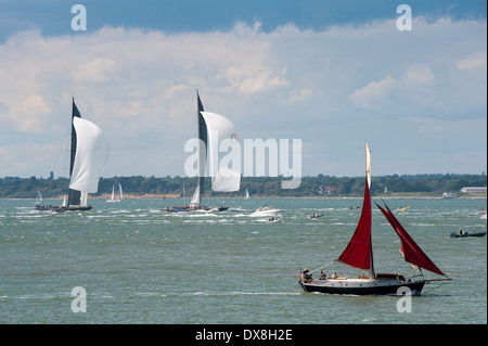 Boats of all shapes and sizes sailing in the Solent near the Isle of Wight, England. - Stock Photo