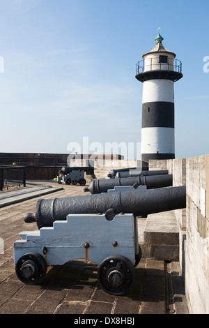 Lighthouse and cannon in Southsea Castle. - Stock Photo