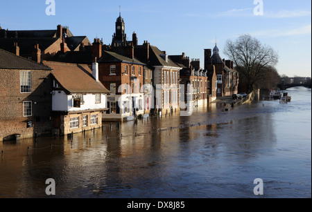 Flooding of the Kings Staithe as seen from the Ouse Bridge, York - Stock Photo