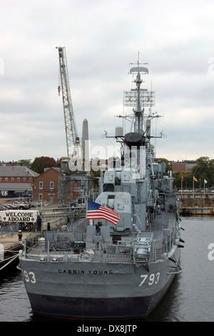The USS Cassin Young. Charlestown Navy Yard, Charlestown, Boston, Massachusetts, New England, USA - Stock Photo