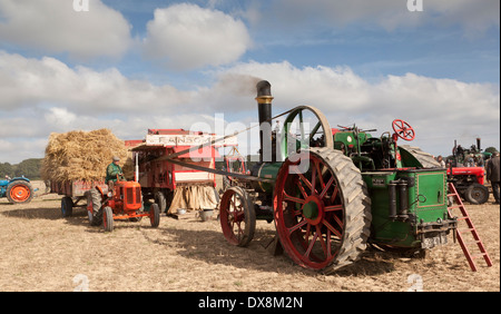 A vintage threshing day showing a steam engine working a threshing drum - Stock Photo