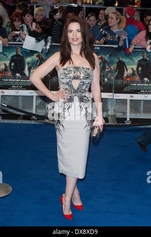 London, UK. 20th March 2014. Actress Hayley Atwell poses for photographers during the UK film premiere of 'Captain - Stock Photo