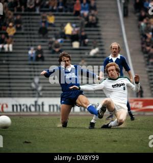 football, Bundesliga, 1978/1979, Parkstadion, FC Schalke 04 versus Borussia Moenchengladbach 1:1, scene of the match, - Stock Photo