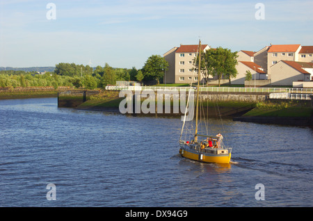 Sailing boat on the River Clyde in Glasgow, Scotland - Stock Photo