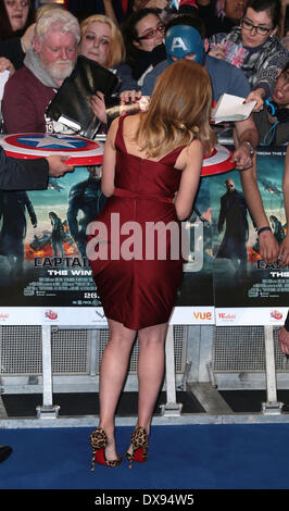 London, UK, 20th March 2014 Scarlett Johansson arrives at the UK Premiere of Captain America: The Winter Soldier - Stock Photo