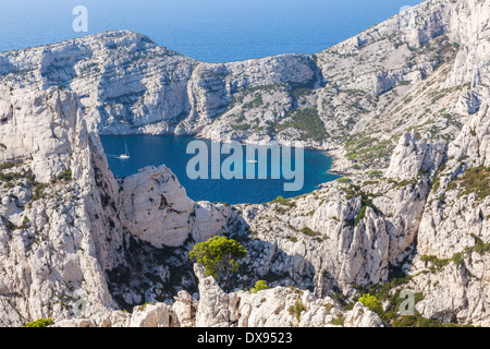 Calanques near Marseille and Cassis in south of France - Stock Photo