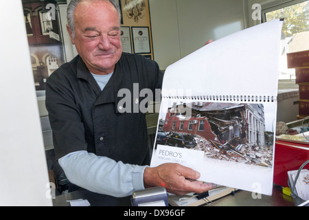 Popular Christchurch chef Pedro Carazo of Pedro's House Of Lamb shows his old restaurant in ruins after the 2011 - Stock Photo