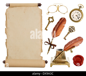 Old vintage paper scroll and antique accessories isolated on white background. - Stock Photo