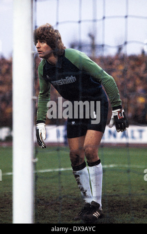 football, Bundesliga, 1979/1980, Wedau Stadium, MSV Duisburg versus Borussia Dortmund 1:0, scene of the match, keeper - Stock Photo