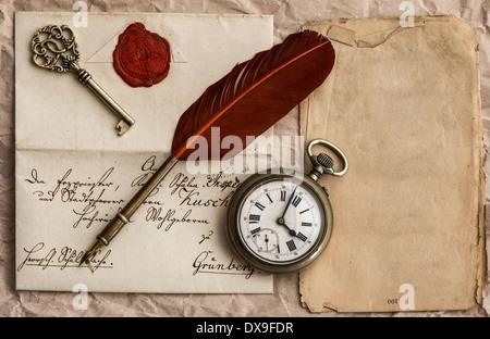 Vintage Grunge Parchment Background With Clock Faces