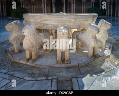 The lion fountain in Patio de los Leones - Stock Photo