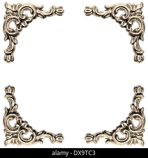 silver colored elements of baroque carved frame on white background with clipping path - Stock Photo