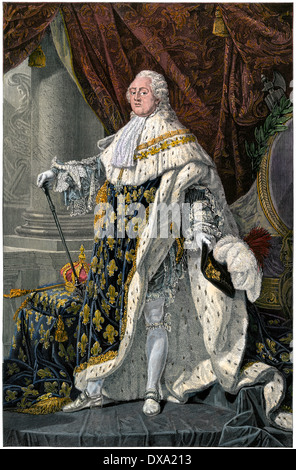 Louis XVI, King of the French at the outset of the French Revolution. Hand-colored engraving - Stock Photo