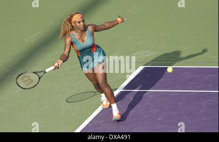 Key Biscayne, Florida, USA. 20th Mar, 2014.  SERENA WILLIAMS (USA) in action here defeats Yaroslava Shvedova (KAZ) - Stock Photo