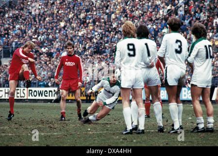 football, Bundesliga, 1983/1984, Stadium am Boekelberg, Borussia Moenchengladbach versus FC Bayern Munich 3:0, scene - Stock Photo
