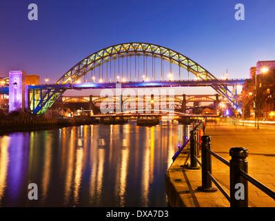 Newcastle upon Tyne skyline gateshead Tyne bridge over River Tyne Tyne and Wear Tyneside England UK GB EU Europe - Stock Photo