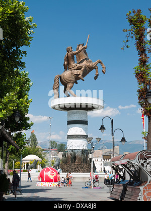 'Warrior on a Horse' statue of Alexander the Great of Macedon - part of the Skopje 2014 project in Skopje, Macedonia - Stock Photo