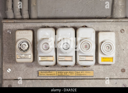 close up of an array of old fashioned lead fuses in a household fuse dxa92e fuse box, old fuses stock photo, royalty free image 123046941 alamy household fuse box at mifinder.co