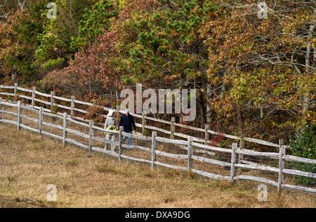 Senior couple walking on a country path, Martha's Vineyard, Massachusetts, USA - Stock Photo