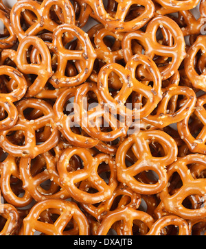 Closeup Of A Pile Of Pretzels For Background - Stock Photo