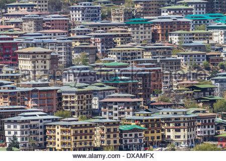 Crowded housing in Thimphu, Bhutan - Stock Photo