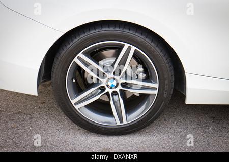 BMW 220i 2014 Sedan, all new series, small sedan. - Stock Photo