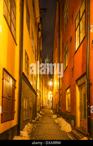 Night view of Stockholm Cathedral, seen from Göran Hälsinges Gränd, in Gamla Stan, the old town of Stockholm, Sweden. - Stock Photo
