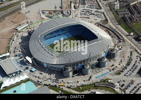 aerial view of the Etihad football stadium in Manchester. Home of Manchester City football club. - Stock Photo