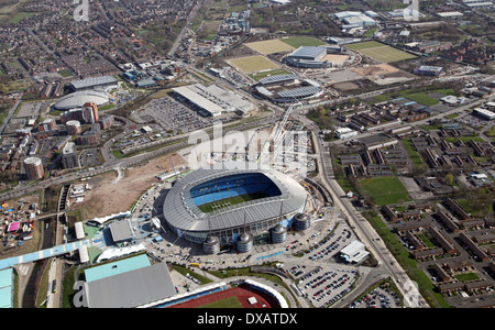 aerial view of the Etihad Stadium, home of Manchester City Football Club and showing the nearby sports development - Stock Photo