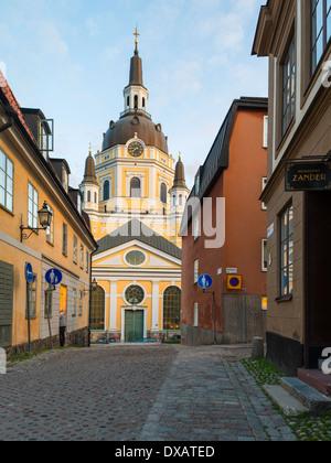 Katarina Kyrka, ('Church of Catherine'), seen from historic Katarina kyrkobacke, ('Katarina Church Hill'), Södermalm, - Stock Photo