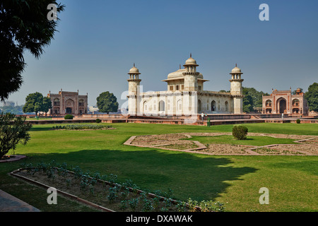 Itmad-Ud-Daulah's Tomb or Etimad-ud-Daulah made from white marble, also called Baby Taj, Agra, Uttar Pradesh, India - Stock Photo