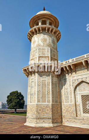 minaret of Itmad-Ud-Daulah's Tomb or Etimad-ud-Daulah, Agra, Uttar Pradesh, India - Stock Photo