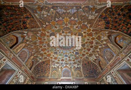 interior shot of Itmad-Ud-Daulah's Tomb or Etimad-ud-Daulah also called Baby Taj, Agra, wall paintings, Uttar Pradesh, - Stock Photo